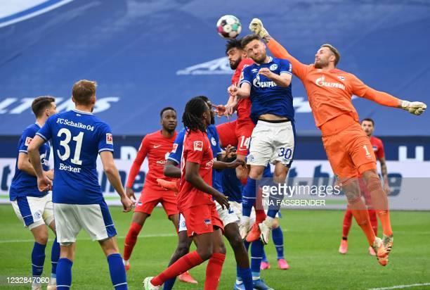 Schalke's German goalkeeper Ralf Faehrmann kicks the ball during the German first division Bundesliga football match FC Schalke 04 v Hertha Berlin on...