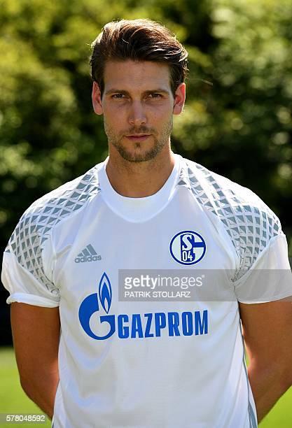 Schalke's goalkeeper Fabian Giefer poses during the team presentation of Schalke 04 on July 20 2016 in Gelsenkirchen western Germany / AFP / PATRIK...