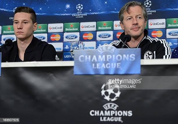 Schalke's head coach Jens Keller and Schalke's midfielder Julian Draxler attend a press conference in Gelsenkirchen western Germany on March 11 on...