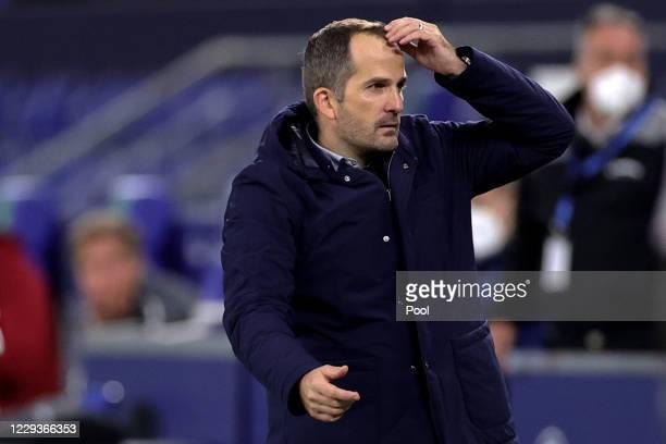 Schalke's head coach Manuel Baum reacts after the Bundesliga match between FC Schalke 04 and VfB Stuttgart at Veltins-Arena on October 30, 2020 in...