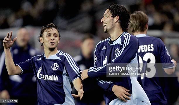 FC Schalke's Kevin Kuranyi and Rafinha celebrate a goal during the Rosenborg vs FC Schalke 04 group B Champions League football match in Trondheim 03...