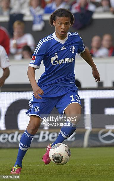 Schalke's midfielder Leroy Sane controls the ball during the German first division Bundesliga football match VfB Stuttgart vs Schalke 04 in...