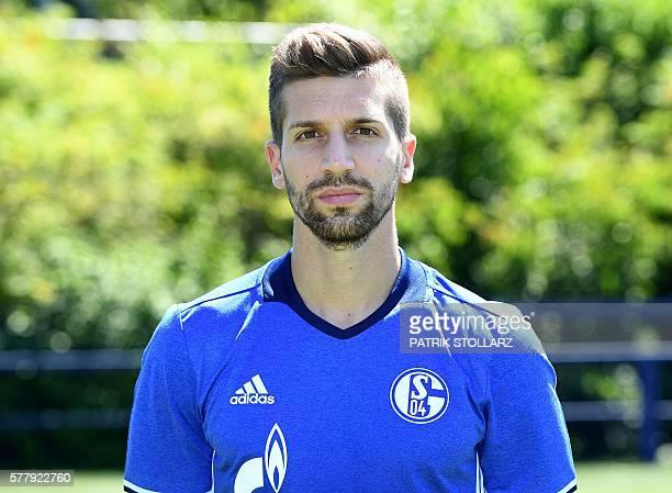 Schalke's midfielder Matija Nastasic poses during the team presentation of Schalke 04 on July 20 2016 in Gelsenkirchen western Germany / AFP / PATRIK...