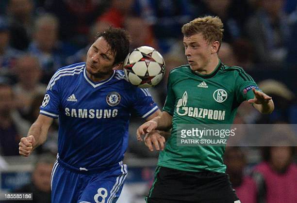 Schalke's midfielder Max Meyer and Chelsea´s Frank Lampard vie for the ball during the UEFA Champions League Group E football match Schalke 04 vs FC...