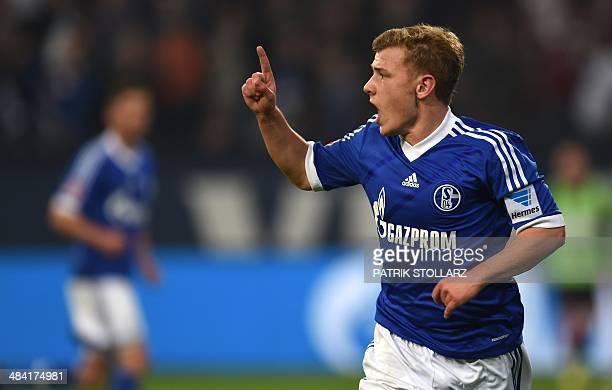 Schalke's midfielder Max Meyer celebrates during the German first division Bundesliga football match FC Schalke 04 vs Eintracht Frankfurt in...