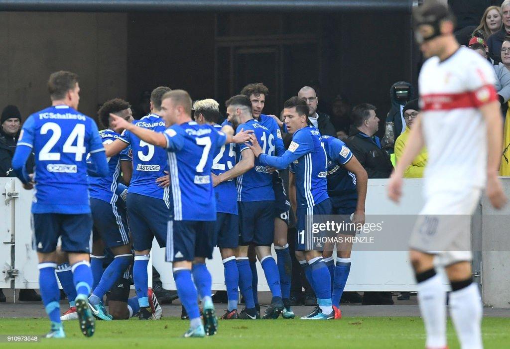 Schalke's players celebrate after Brazilian defender Naldo (unseen) scored the opening goal during the German first division Bundesliga football match VfB Stuttgart vs Schalke 04 in Stuttgart, southwestern Germany, on January 27, 2018. /