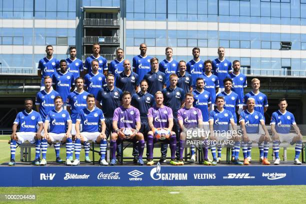 Schalke's players pose for a family picture during the presentation of the team of the German Bundesliga Schalke 04 football club for the Season...