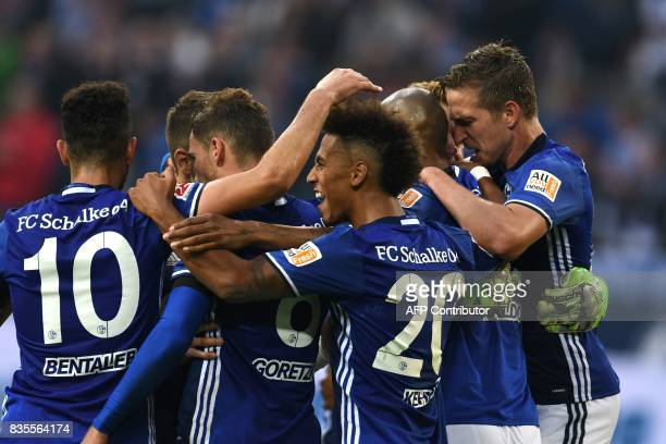 Schalke´s players react after the German First division Bundesliga football match FC Schalke 04 vs RB Leipzig in Gelsenkirchen western Germany on...