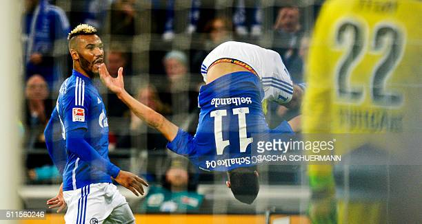 Schalke's Schalke's midfielder Younes Belhanda celebrates scoring the 10 goal during the German first division Bundesliga football match of Schalke...