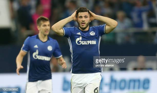 Schalke's Sead Kolasinac gestures after his score is declared void after the German Bundesliga soccer match between FC Schalke 04 and Hamburger SV at...