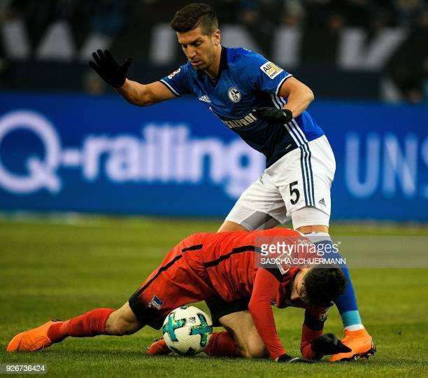 Schalke's Serbian defender Matija Nastasic and Berlin's Australian midfielder Matthew Leckie during the German first division Bundesliga football...
