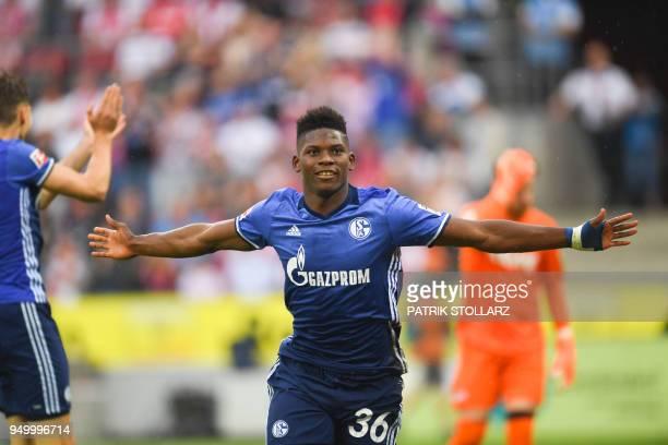 Schalke's Swiss forward Breel Embolo celebrates after scoring during the German first division Bundesliga football match FC Cologne vs Schalke 04 in...