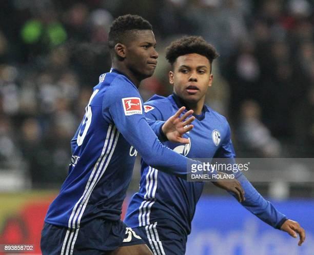 Schalke's Swiss forward Breel Embolo celebrates scoring the 21 during the German first division Bundesliga football match between FC Schalke 04 and...