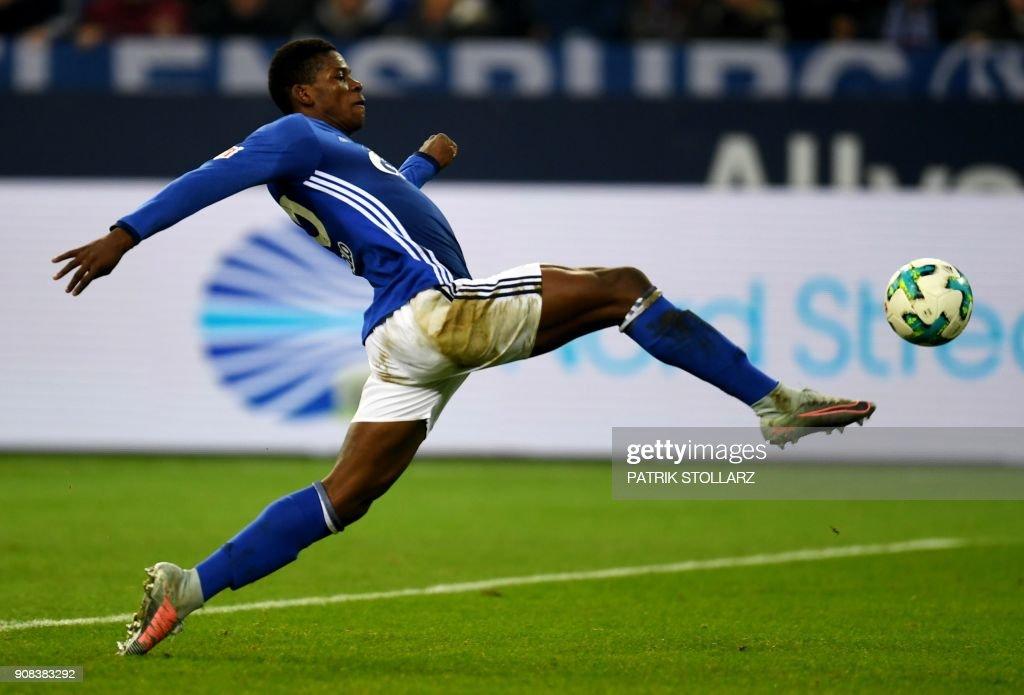 Schalke's Swiss midfielder Breel Embolo kicks the ball during the German First division Bundesliga football match FC Schalke 04 vs Hanover 96 in Gelsenkirchen, western Germany, on January 21, 2018. /