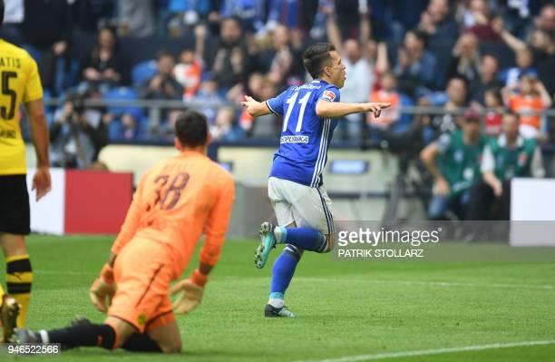 Schalke's Ukrainian midfielder Yevhen Konoplyanka celebrates after scoring during the German first division Bundesliga football match of Schalke 04...