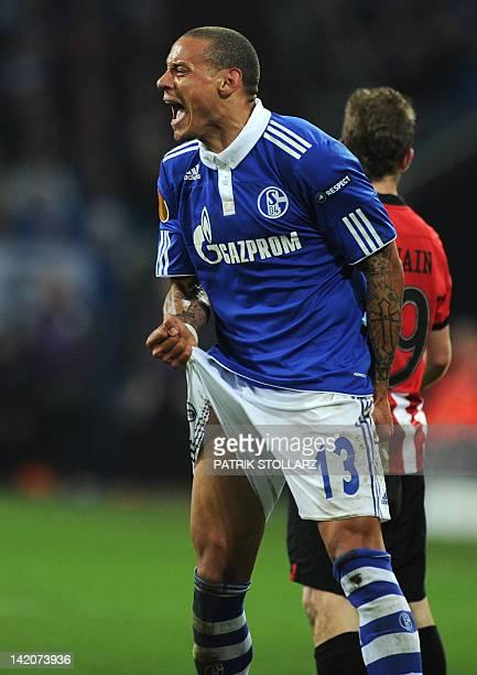 Schalke's US midfielder Jermaine Jones reacts during the UEFA Europa League quarter-final football match Schalke 04 vs Atletico Bilbao in...