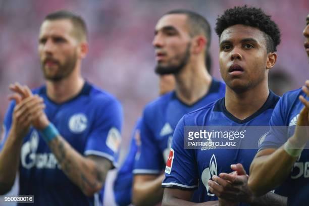 Schalke's US midfielder Weston McKennie reacts after the German first division Bundesliga football match FC Cologne vs Schalke 04 in Cologne western...