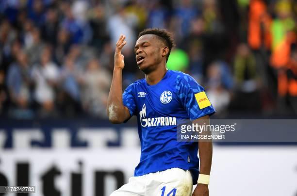 Schalke's Welsh forward Rabbi Matondo reacts during the German First division Bundesliga football match between Schalke 04 and Borussia Dortmund in...