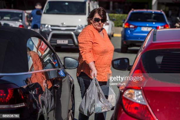 Schapelle Corby's mother Rosleigh Rose leaves the Waterford Plaza in Waterford after doing some shopping south of Brisbane on May 29 2017 in Brisbane...