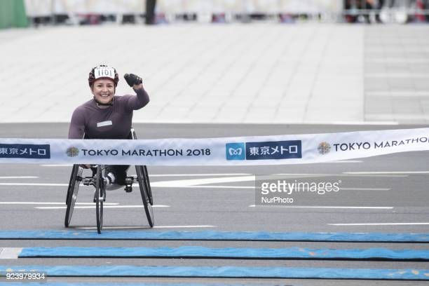 Schar Manuela of Swiss crosses the finish line to take the first place in the women's wheelchair race of the Tokyo Marathon 2018 in Tokyo Japan 25...
