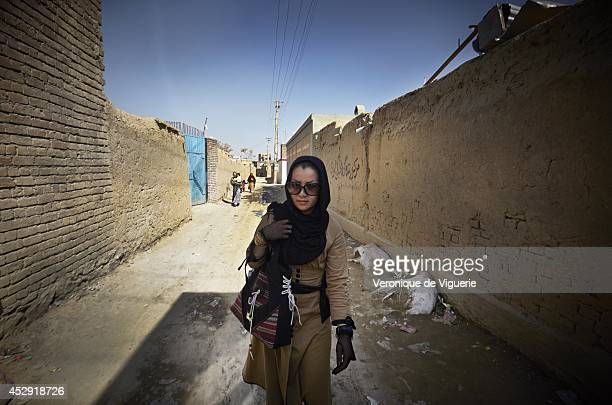 Schasia on her way to university which she attends on her day off to study poetry in Kabul She is in the Afghan Special Forces