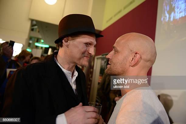 Schauspieler Georg Friedrich und Schauspieler Jürgen Vogel beim RadioEins Berlinale-Nighttalk am Rande der 64. Internationalen Filmfestspiele Berlin