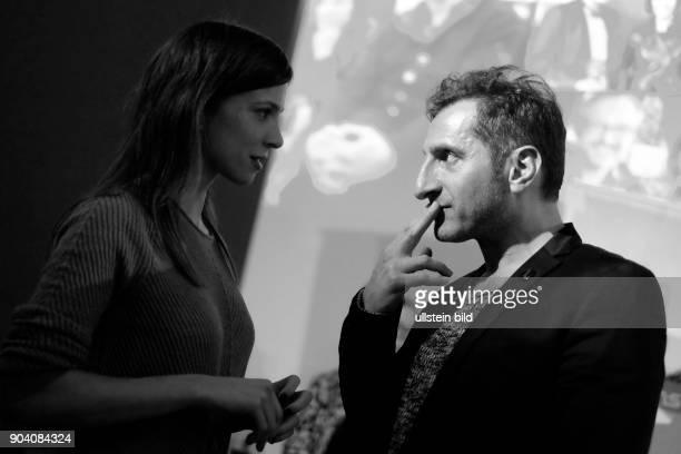 Schauspielerin Aylin Tezel mit Schauspieler Tim Seyfi während des RadioEins Berlinale Nighttalk aus der XXLounge anlässlich der 67 Internationalen...