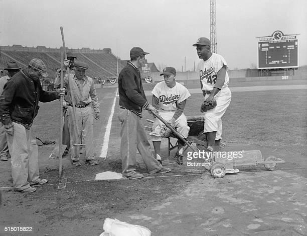 Scheduled to play their first game in Jersey City tomorrow against the Phillies the Brooklyn Dodgers worked out at Roosevelt Stadium today in...