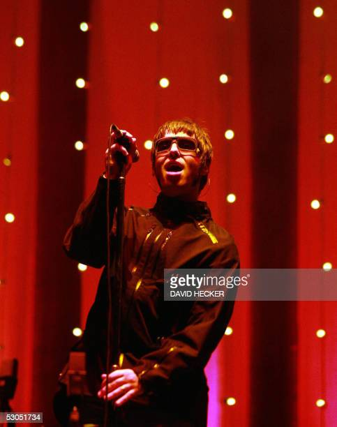 British lead singer of rock band 'Oasis' Liam Gallagher performs on stage 10 June 2005 in Schessel north western Germany during the Schessel open air...