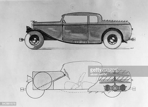 Schematische Darstellung eines'Aeromobil' / 'PropellerAuto' und derAnordnung des Luftmotor entwickelt vonEmil Sohn und Herbert Kohnert Berlin...