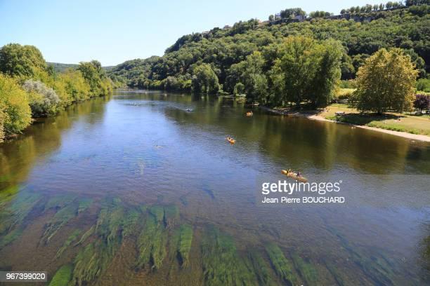 Sécheresse et basses eaux de la Dordogne en Périgord Noir 20 aout 2017 entre Cénac et La Roque Gageac France