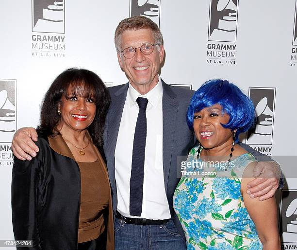 Scherrie Payne Bob Santelli and Susaye Greene attend an evening with Mary Wilson of The Supremes at The GRAMMY Museum on June 24 2015 in Los Angeles...
