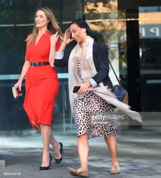 Scherri-Lee Biggs is seen leaving the HBF building in Perth on June 18, 2021 in Perth, Australia.