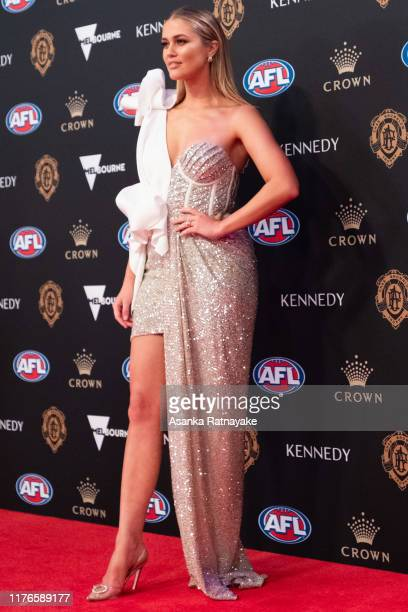 ScherriLee Biggs the partner of Brad Sheppard of the Eagles arrives ahead of the 2019 Brownlow Medal at Crown Palladium on September 23 2019 in...