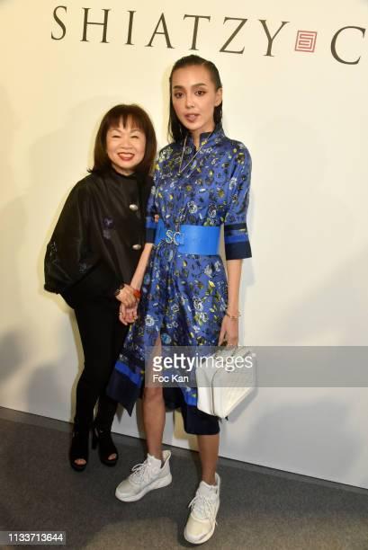 Schiatzy Chen designer Wang Chen TsaiHsia and Kiwi Lee Han attend the Schiatzy Chen show as part of the Paris Fashion Week Womenswear Fall/Winter...