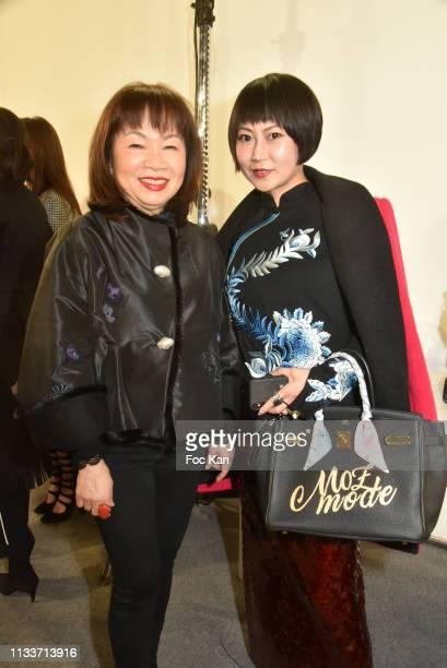 Schiatzy Chen designer Wang Chen TsaiHsia and Mandy Ophelie Zhang fom Moment Magazine attend the Schiatzy Chen show as part of the Paris Fashion Week...