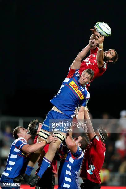 Schickerling of the Stormers controls lineout ball from Sam Whitelock of the Crusaders during the round two Super Rugby match between the Crusaders...