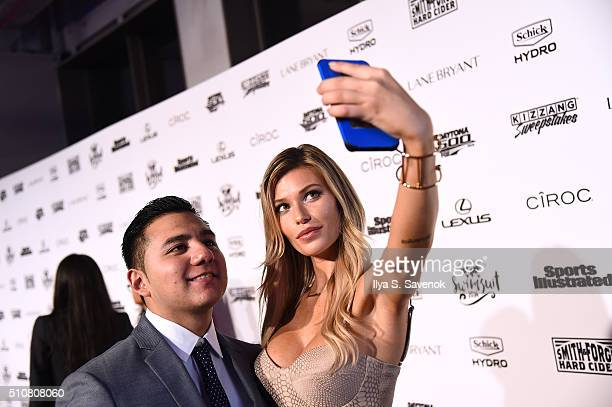 #SchickMagnet contest winner Jorge Anaya poses for a selfie on a red carpet with model Samantha Hoopes as she teams up with Schick Hydro to celebrate...