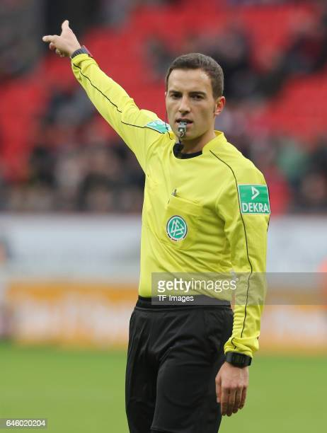 Schiedsrichter Benjamin Brand gestures during the Bundesliga match between Bayer 04 Leverkusen and 1 FSV Mainz 05 at BayArena on February 25 2017 in...