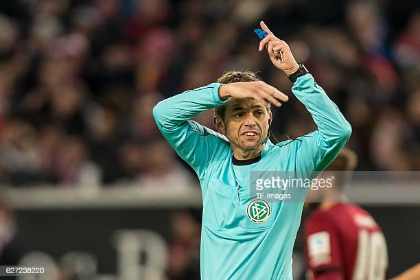 Schiedsrichter Dr Jochen Drees gestures during the second Bundesliga match between VfB Stuttgart and 1 FC Nuernberg at Mercedes Benz Arena on...
