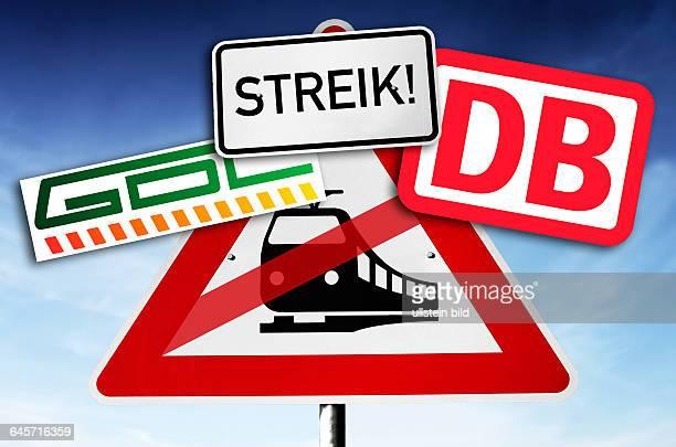 Schild mit durchgestrichener Bahn und GDL- und DB-Zeichen, Symbolfoto Bahn-Streik