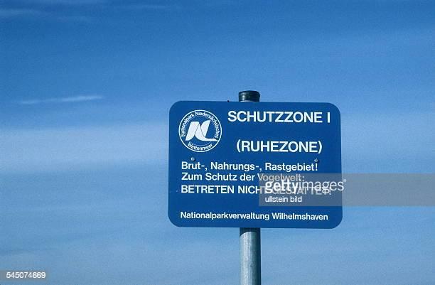 Schild Schutzzone für Vögel im Nationalpark Niedersaechsisches Wattenmeer 2000