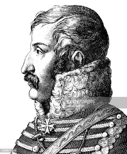 Schill, Ferdinand Baptista von *06.01.1776-31.05.1809+Preussischer Offizier, Freikorpsfuehrerr- Portrait, Zeichnung und Stich von Hugo Buerkner-...