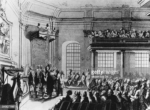 Schiller, Friedrich von *10.11.1759-09.05.1805+Dramatiker, Dichter, Philosoph, D- Erhebung der Militaerischen Pflanzschule in Stuttgart zur Hohen...