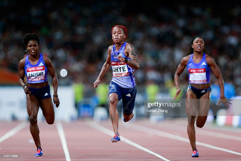 Schillonie Calvert of Jamaica, Michelle-Lee Ahye of Trindad and Tobago and Lekeisha Lawson of United States competes in the Women's 100 metres during the 2015 IAAF World Challenge Beijing at National Stadium on May 20, 2015 in Beijing, China.