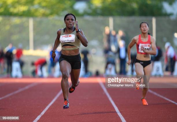 Schillonie CalvertPowell of Jamaica leads Wenyi Ran of China enroute to wins the Women's 100 Meters at Percy Perry Stadium on June 26 2018 in Burnaby...
