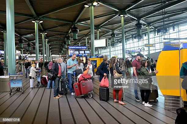 schiphol railway station - schiphol airport stock photos and pictures