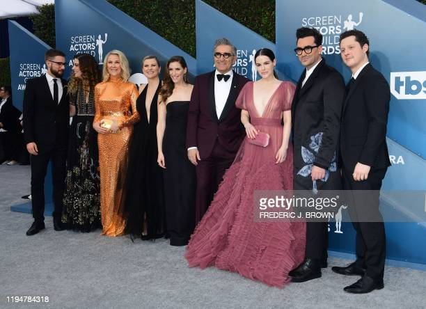 """""""Schitt's Creek"""" cast arrives for the 26th Annual Screen Actors Guild Awards at the Shrine Auditorium in Los Angeles on January 19, 2020."""
