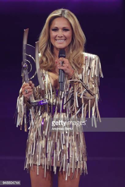 'Schlager' award winner Helene Fischer speaks on stage during the Echo Award show at Messe Berlin on April 12 2018 in Berlin Germany