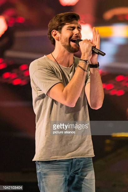 Schlager singer Alvaro Soler performing during the shooting of the TV show 'Schlagerboom Das internationale Schlagerfest' at Westfalenhalle in...
